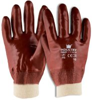 Handschoen PVC rood met tricot manchet en gesloten rugzijde 1 paar