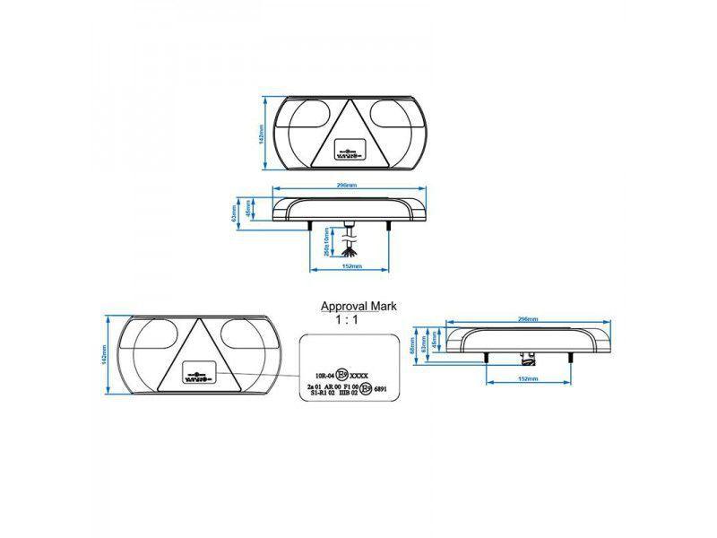 achterlicht 6 functies 296x142mm 32led links